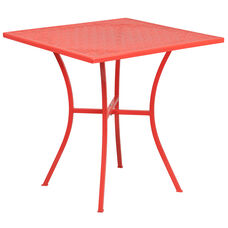 "Commercial Grade 28"" Square Coral Indoor-Outdoor Steel Patio Table"