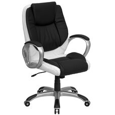 Mid-Back Black and White LeatherSoft Executive Swivel Office Chair with Arms