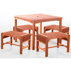 Malibu 5 Piece Outdoor Wood Patio Dining Set with Square Table and 4 Single Seat Backless Benches