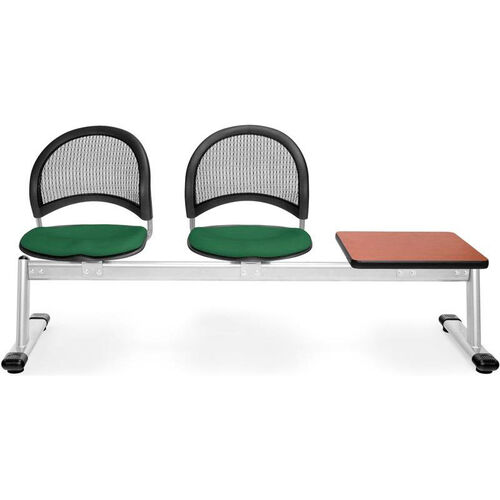 Our Moon 3-Beam Seating with 2 Forest Green Fabric Seats and 1 Table - Cherry Finish is on sale now.