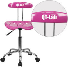 Personalized Vibrant Candy Heart and Chrome Swivel Task Office Chair with Tractor Seat