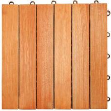 Outdoor Patio 6-Slat Eucalyptus Interlocking Deck Tile - Set of 10