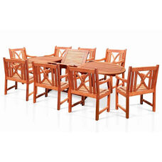 Malibu Outdoor 9 Piece Wood Patio Dining  Set with Oval Extension Table and 8 X Back Armchair