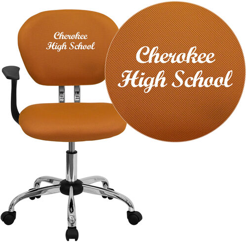 Our Embroidered Mid-Back Orange Mesh Padded Swivel Task Office Chair with Chrome Base and Arms is on sale now.