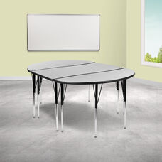 """3 Piece 76"""" Oval Wave Collaborative Grey Thermal Laminate Activity Table Set - Standard Height Adjustable Legs"""