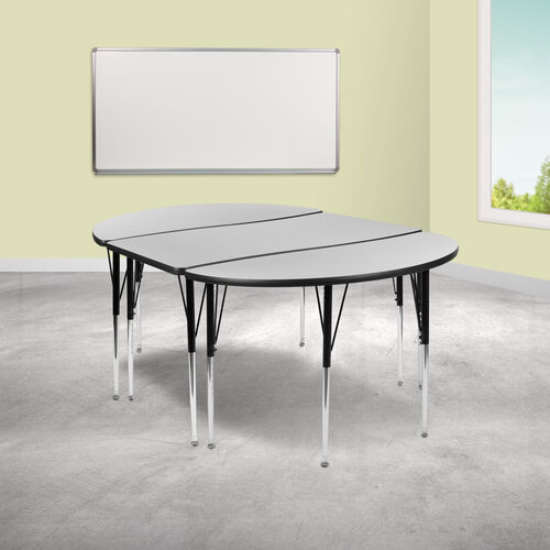"""Our 3 Piece 76"""" Oval Wave Collaborative Grey Thermal Laminate Activity Table Set - Standard Height Adjustable Legs is on sale now."""