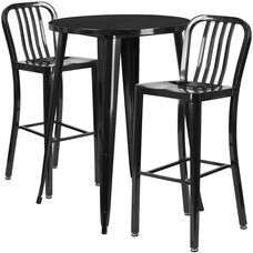 "Commercial Grade 30"" Round Black Metal Indoor-Outdoor Bar Table Set with 2 Vertical Slat Back Stools"