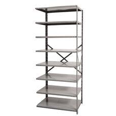 Hi-Tech Open Style 8 Adjustable Metal Shelving Add On Unit - Unassembled - Dark Gray - 36