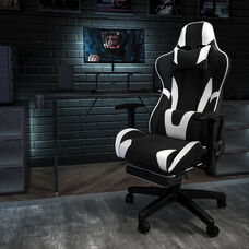 BlackArc X30 Gaming Chair Racing Office Ergonomic Computer Chair with Fully Reclining Back and Slide-Out Footrest in Black LeatherSoft