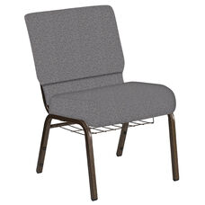 Embroidered 21''W Church Chair in Ribbons Fog Fabric with Book Rack - Gold Vein Frame