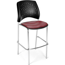 Stars Cafe Height Vinyl Seat Chair with Chrome Frame - Wine