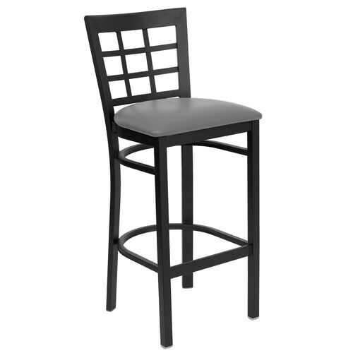 Our Black Window Back Metal Restaurant Barstool with Custom Upholstered Seat is on sale now.