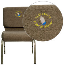 HERCULES™ Series Auditorium Chair - Stacking - 21inch Wide Seat - Brown Fabric/Silver Vein Frame - Custom Logo/Text