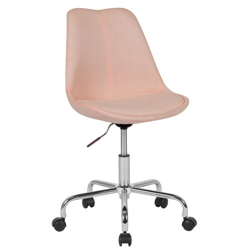 Our Aurora Series Mid-Back Pink Fabric Task Office Chair with Pneumatic Lift and Chrome Base is on sale now.