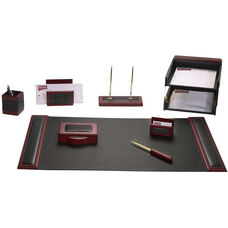 Wood and Leather 10 Piece Desk Set - Rosewood and Black