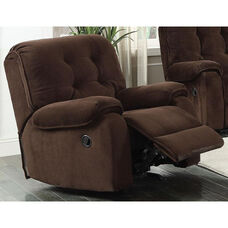 Nailah Transitional Style Champion Fabric Recliner with Hand Latch - Chocolate