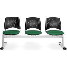 Stars 3-Beam Seating with 3 Fabric Seats - Forest Green