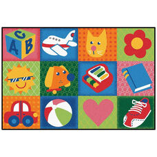Kids Value Toddler Fun Squares Rectangular Nylon Rug - 36