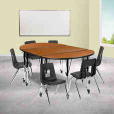 """Mobile 76"""" Oval Wave Collaborative Laminate Activity Table Set with 16"""" Student Stack Chairs, Oak/Black"""