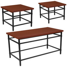 Granada Hills Collection 3 Piece Coffee and End Table Set in Norway Cherry Inlaid Wood Grain Finish and Black Metal Legs
