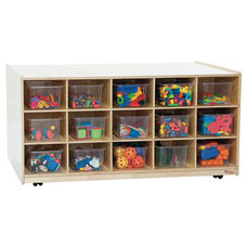 30-Tray Double Sided Tot-Size Mobile Island with Clear Storage Trays and Easy Mobility Casters - Assembled - 48