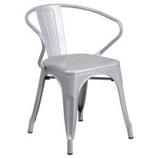 Commercial Grade Silver Metal Indoor-Outdoor Chair with Arms