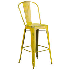 """Commercial Grade 30"""" High Distressed Yellow Metal Indoor-Outdoor Barstool with Back"""