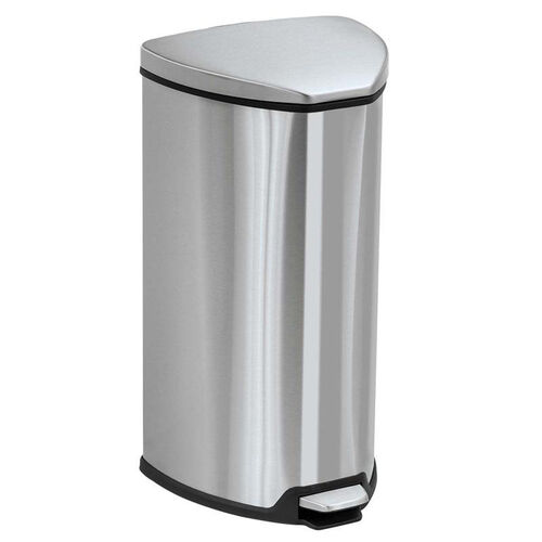 Our Safco® Step-On Waste Receptacle - Triangular - Stainless Steel - 7gal - Chrome/Black is on sale now.