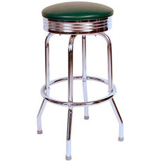 Retro Style Backless 30''H Swivel Bar Stool with Chrome Frame and Padded Seat - Green Vinyl
