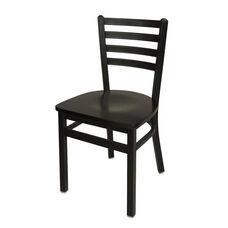 Lima Metal Ladder Back Chair - Black Wood Seat