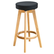 Multi Indoor Purpose Rex Wood Swivel Counter Stool - Black and Natural