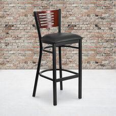 Black Decorative Slat Back Metal Restaurant Barstool with Mahogany Wood Back & Black Vinyl Seat