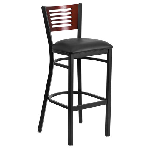 Our Black Decorative Slat Back Metal Restaurant Barstool with Mahogany Wood Back & Black Vinyl Seat is on sale now.