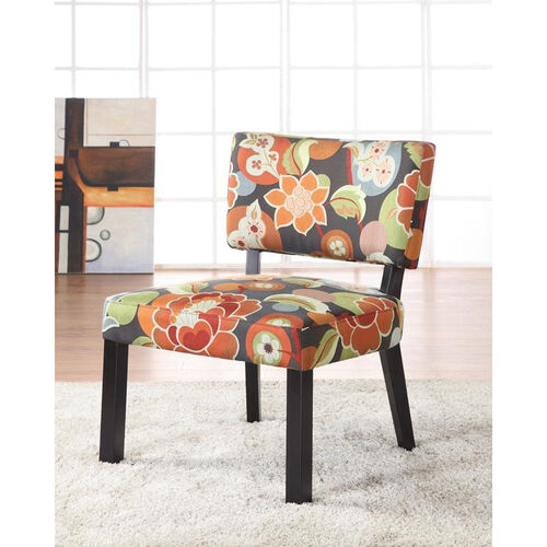 Bright Floral Print Accent Chair - Black