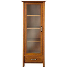 Avery Linen Cabinet with One Door and One Bottom Drawer - Oil Oak
