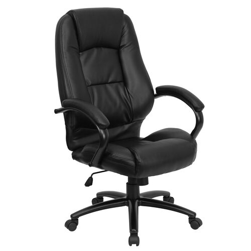 Our High Back Black Leather Executive Swivel Office Chair with Metal Base and Padded Arms is on sale now.