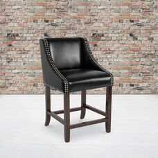 """Carmel Series 24"""" High Transitional Walnut Counter Height Stool with Accent Nail Trim in Black LeatherSoft"""