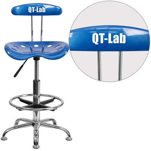 Our Personalized Vibrant Bright Blue and Chrome Drafting Stool with Tractor Seat is on sale now.