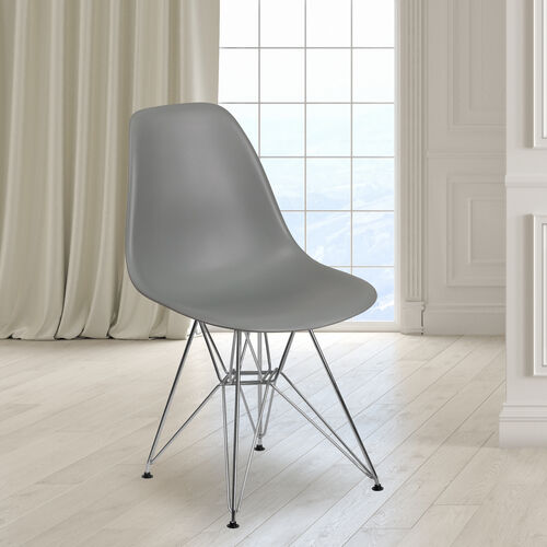 Our Elon Series Moss Gray Plastic Chair with Chrome Base is on sale now.