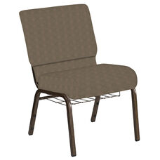 Embroidered 21''W Church Chair in Illusion Chic Gray Fabric with Book Rack - Gold Vein Frame