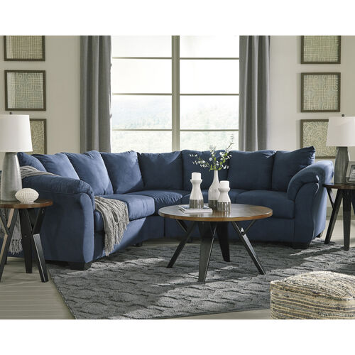 Our Signature Design by Ashley Darcy Sectional in Blue Microfiber is on sale now.