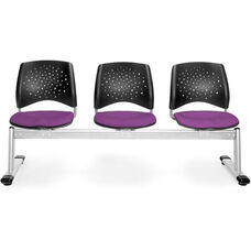 Stars 3-Beam Seating with 3 Fabric Seats - Plum
