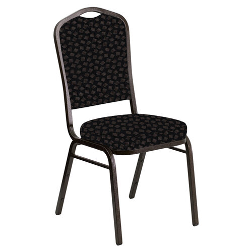 Embroidered Crown Back Banquet Chair in Scatter Ferrer Fabric - Gold Vein Frame