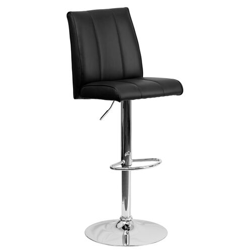 Our Contemporary Black Vinyl Adjustable Height Barstool with Vertical Stitch Panel Back and Chrome Base is on sale now.