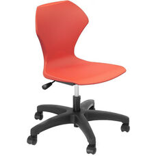 Apex Series Plastic Height Adjustable Task Chair with 5 Star Base - Red Seat - 25''W x 25''D x 36''H - 40''H