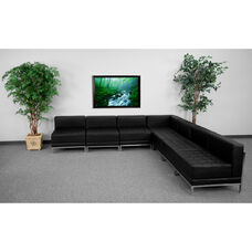 HERCULES Imagination Series Black LeatherSoft Sectional Configuration, 7 Pieces