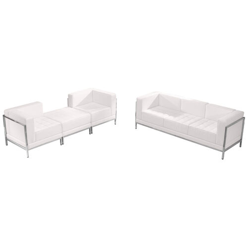 HERCULES Imagination Series Melrose White LeatherSoft Sofa & Lounge Chair Set, 4 Pieces