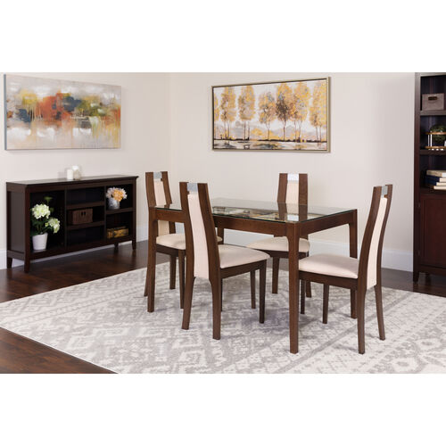 Our Saratoga 5 Piece Espresso Wood Dining Table Set with Glass Top and Curved Slat Wood Dining Chairs - Padded Seats is on sale now.