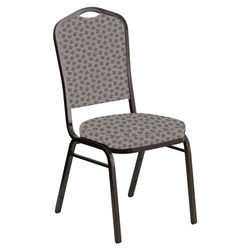 Our Embroidered Crown Back Banquet Chair in Scatter Fedora Fabric - Gold Vein Frame is on sale now.