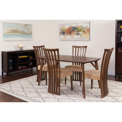 Addington 5 Piece Walnut Wood Dining Table Set with Dramatic Rail Back Design Wood Dining Chairs - Padded Seats